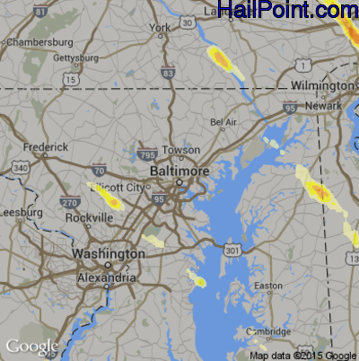 Hail Map for Baltimore, MD Region on May 22, 2014