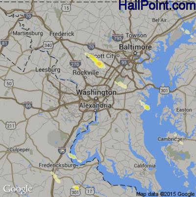 Hail Map for Washington, DC Region on May 22, 2014