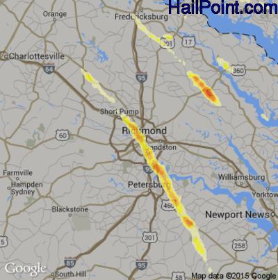 Hail Map for Richmond, VA Region on May 22, 2014