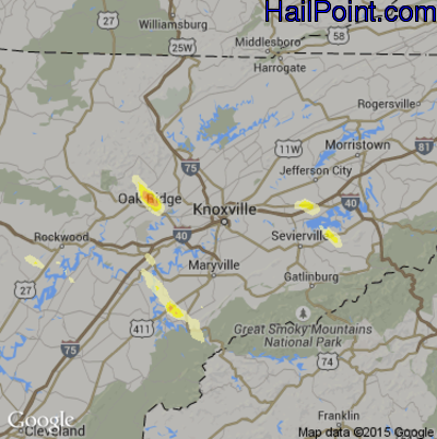 Hail Map for Knoxville, TN Region on May 22, 2014