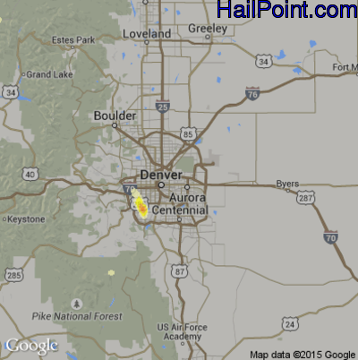 Hail Map for Denver, CO Region on May 24, 2014
