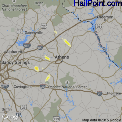 Hail Map for Athens, GA Region on May 25, 2014