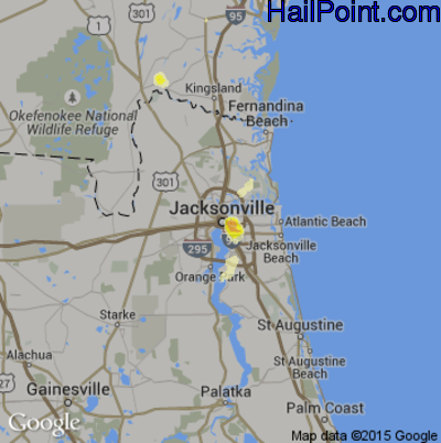Hail Map for Jacksonville, FL Region on May 26, 2014