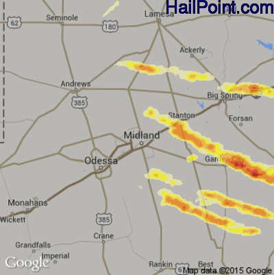 Hail Map for Midland, TX Region on May 26, 2014