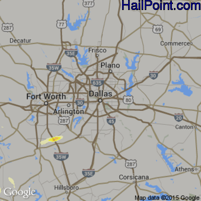 Hail Map for Dallas, TX Region on May 27, 2014