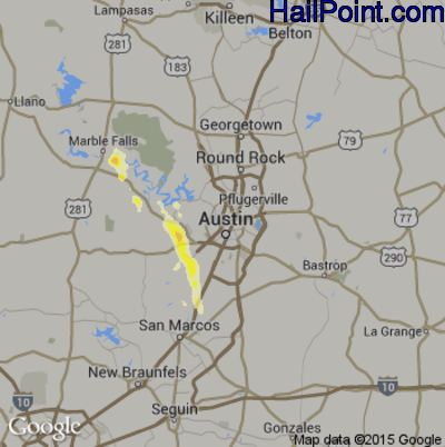 Hail Map for Austin, TX Region on May 28, 2014