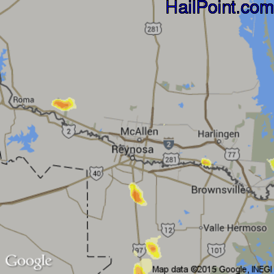 Hail Map for McAllen, TX Region on May 28, 2014