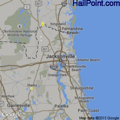 Hail Map for Jacksonville, FL Region on May 29, 2014