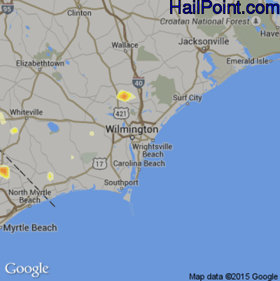 Hail Map for Wilmington, NC Region on May 29, 2014