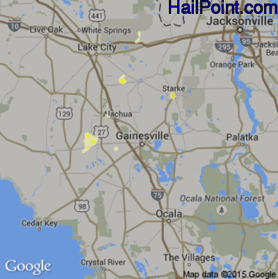 Hail Map for Gainesville, FL Region on May 29, 2014