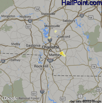 Hail Map for Charlotte, NC Region on May 29, 2014