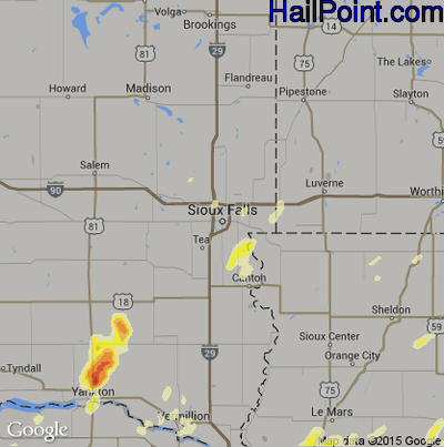 Hail Map for Sioux Falls, SD Region on June 1, 2014