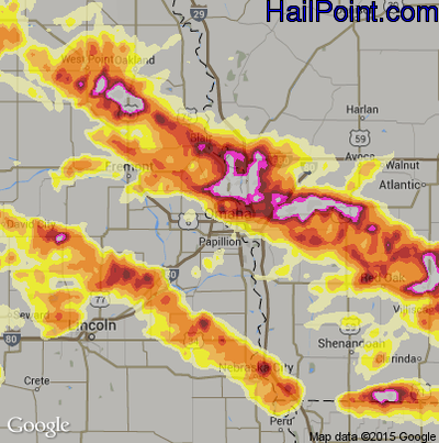 Hail Map for Omaha, NE Region on June 3, 2014