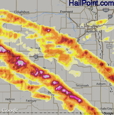Hail Map for Lincoln, NE Region on June 3, 2014