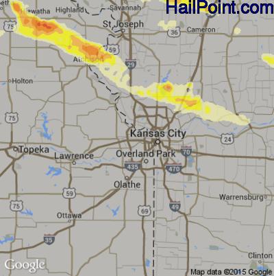Hail Map for Kansas City, KS Region on June 4, 2014