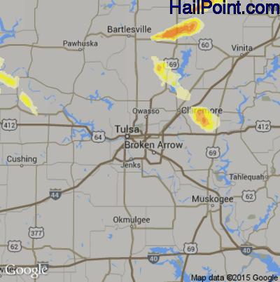 Hail Map for Tulsa, OK Region on June 6, 2014