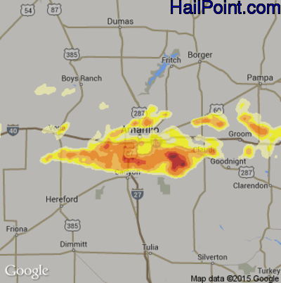 Hail Map for Amarillo, TX Region on June 6, 2014