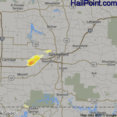 Hail Map for Springfield, MO Region on June 6, 2014