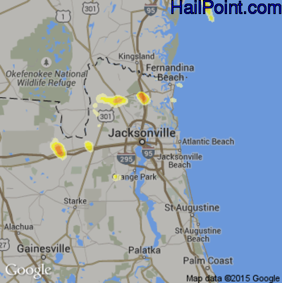 Hail Map for Jacksonville, FL Region on June 6, 2014