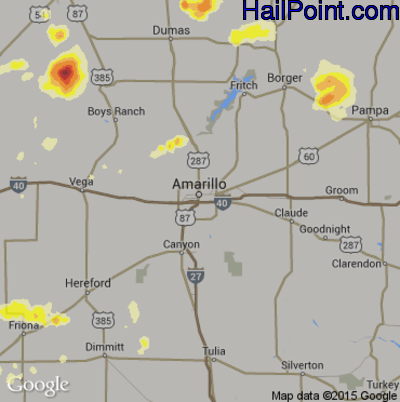 Hail Map for Amarillo, TX Region on June 7, 2014