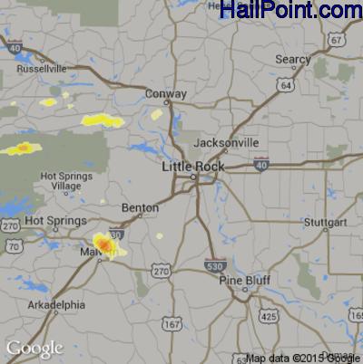 Hail Map for Little Rock, AR Region on June 7, 2014