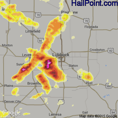 Hail Map for Lubbock, TX Region on June 8, 2014