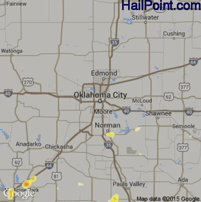 Hail Map for Oklahoma City, OK Region on June 8, 2014