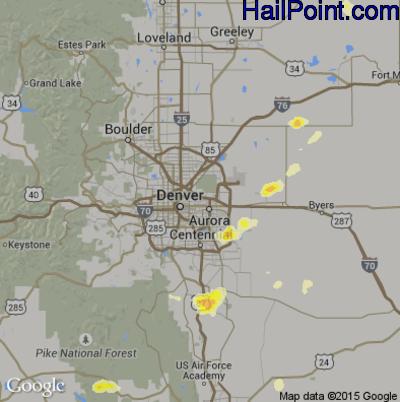 Hail Map for Denver, CO Region on June 8, 2014