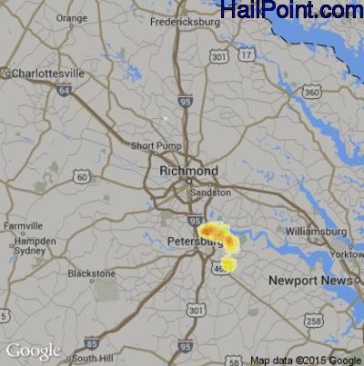 Hail Map for Richmond, VA Region on June 11, 2014