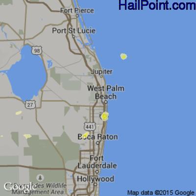 Hail Map for West Palm Beach, FL Region on June 11, 2014