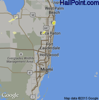 Hail Map for Fort Lauderdale, FL Region on June 11, 2014