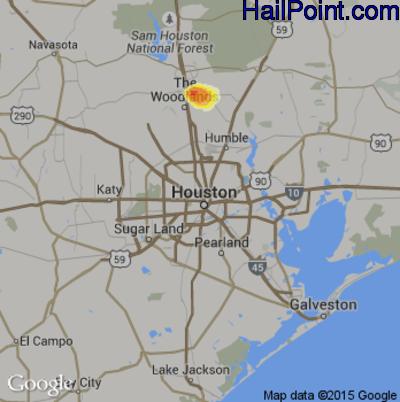 Hail Map for Houston, TX Region on June 12, 2014