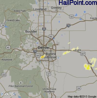 Hail Map for Denver, CO Region on June 14, 2014