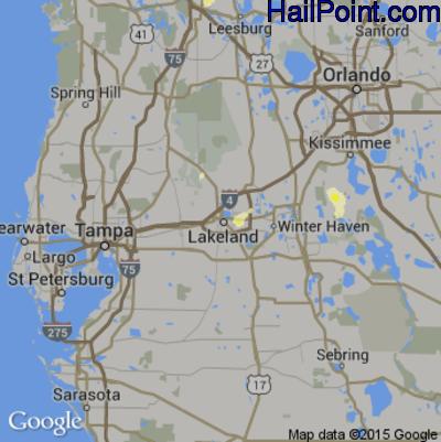 Hail Map for Lakeland, FL Region on June 15, 2014