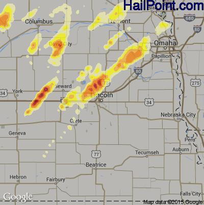 Hail Map for Lincoln, NE Region on June 16, 2014