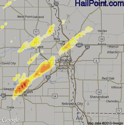 Hail Map for Omaha, NE Region on June 16, 2014