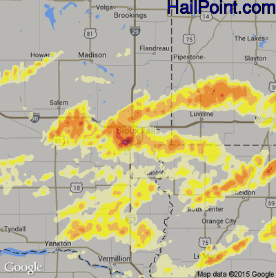 Hail Map for Sioux Falls, SD Region on June 16, 2014