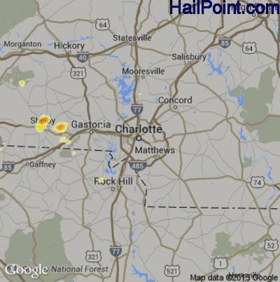 Hail Map for Charlotte, NC Region on June 16, 2014