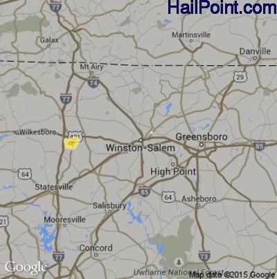 Hail Map for Winston-Salem, NC Region on June 16, 2014