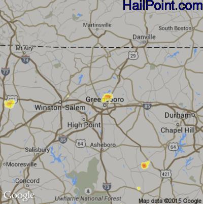 Hail Map for Greensboro, NC Region on June 16, 2014