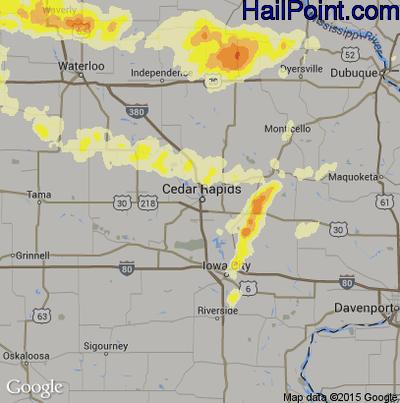Hail Map for Cedar Rapids, IA Region on June 16, 2014