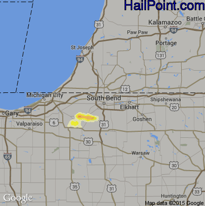 Hail Map for South Bend, IN Region on June 17, 2014
