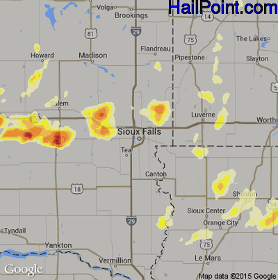 Hail Map for Sioux Falls, SD Region on June 18, 2014