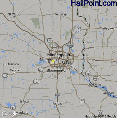 Hail Map for Minneapolis, MN Region on June 18, 2014
