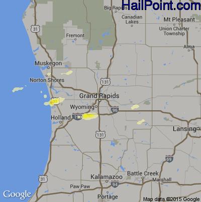 Hail Map for Grand Rapids, MI Region on June 18, 2014