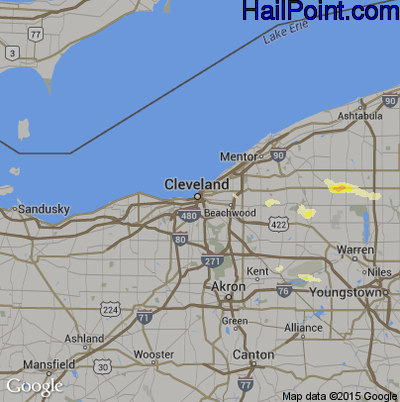 Hail Map for Cleveland, OH Region on June 18, 2014