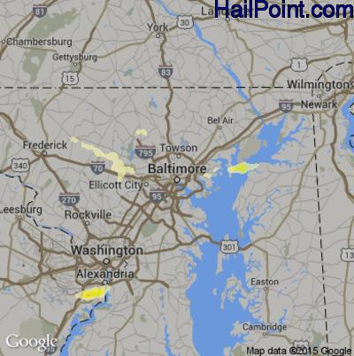 Hail Map for Baltimore, MD Region on June 19, 2014