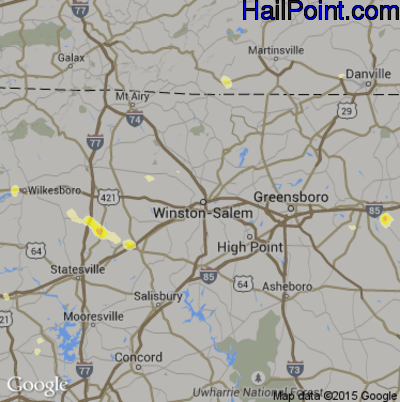 Hail Map for Winston-Salem, NC Region on June 19, 2014