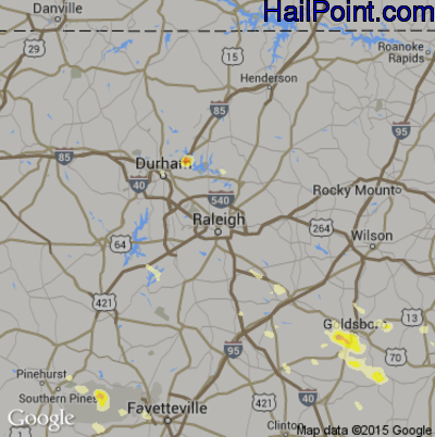 Hail Map for Raleigh, NC Region on June 19, 2014