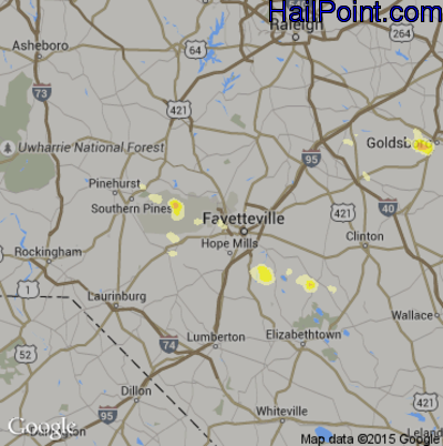 Hail Map for Fayetteville, NC Region on June 19, 2014
